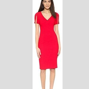 Black Halo Red Olive Sheath Split-sleeve Cocktail